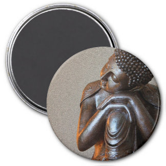 Close up of peaceful silver Buddha 7.5 Cm Round Magnet
