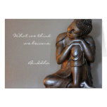 Close up of peaceful silver Buddha Greeting Cards