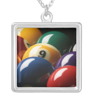 Close Up of Pool Balls Silver Plated Necklace
