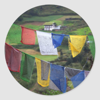 Close Up Of Prayer Flags Classic Round Sticker