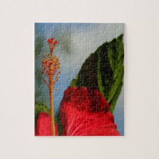 Close Up of Red Hibiscus Stamen and Pollen Jigsaw Puzzle