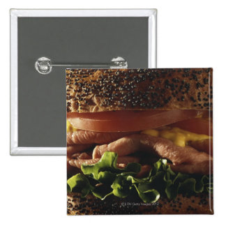 Close-up of sandwich 15 cm square badge