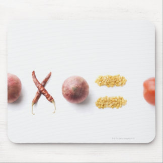 Close-up of spices arranged in mathematical mousepad
