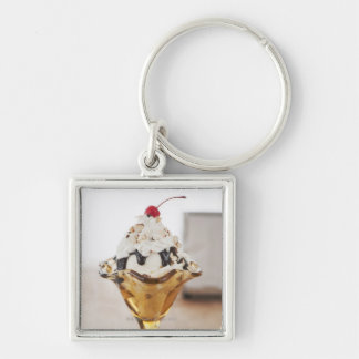 Close up of sundae with cherry on top keychains