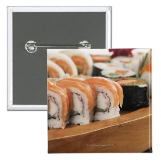 Close-up of sushi in a platter 15 cm square badge