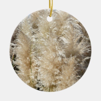 Close-Up of Tall Pampas Grass Plumes Ceramic Ornament