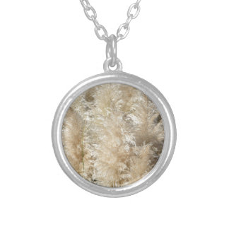 Close-Up of Tall Pampas Grass Plumes Silver Plated Necklace