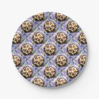 Close Up of The Centre Of a Passiflora Flower Paper Plate