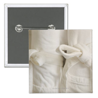 Close up of towels in spa 15 cm square badge