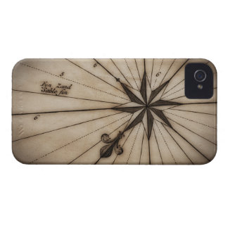 Close up of wind rose on antique map iPhone 4 covers
