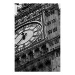 Close up on Big Ben in black and white Poster
