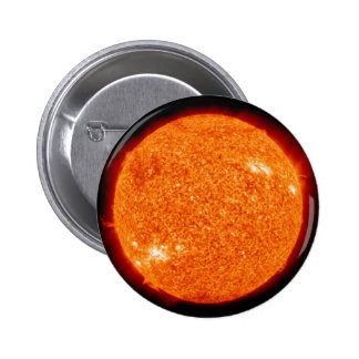 Close up picture of the sun. 6 cm round badge