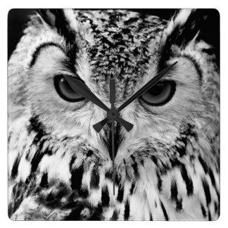 Close Up Portrait Of Eurasian Eagle-owl Square Wall Clock