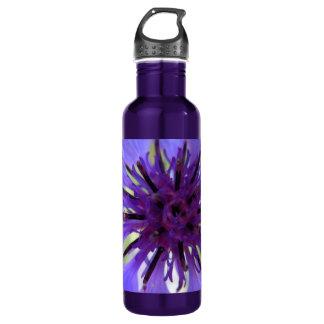 Close up Purple Bachelor Button 24oz Water Bottle