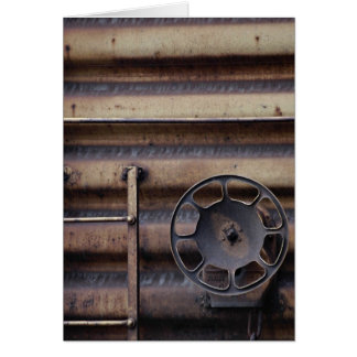 Close-up, rusted train car greeting card
