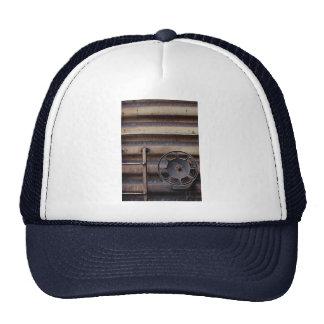 Close-up, rusted train car mesh hat