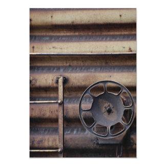 Close-up, rusted train car 13 cm x 18 cm invitation card