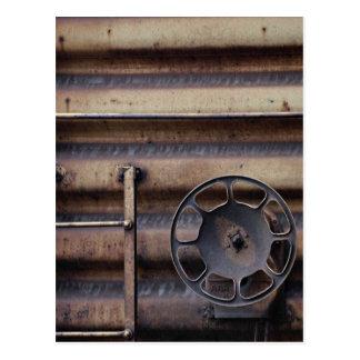 Close-up, rusted train car post card