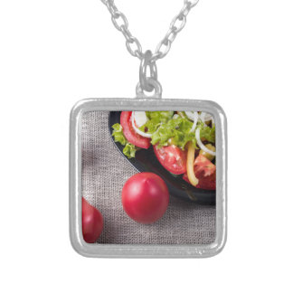 Close-Up top view fresh tomatoes and salad Silver Plated Necklace