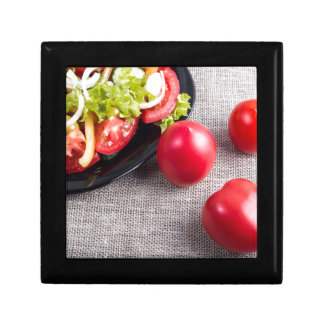Close-Up top view on fresh tomatoes and a bowl Small Square Gift Box