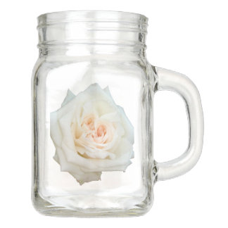 Close Up View Of A Beautiful White Rose Isolated Mason Jar