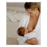 Close up view of a mother breastfeeding her baby poster