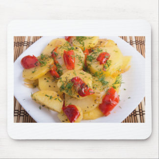 Close up view on a vegetarian dish of potatoes mouse pad