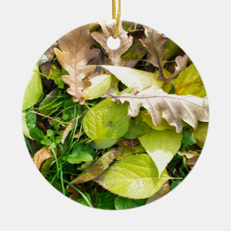 Close-up view on fallen autumn leaves ceramic ornament