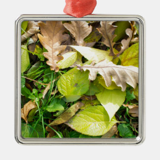 Close-up view on fallen autumn leaves metal ornament