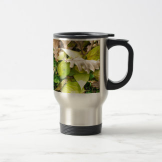 Close-up view on fallen autumn leaves travel mug