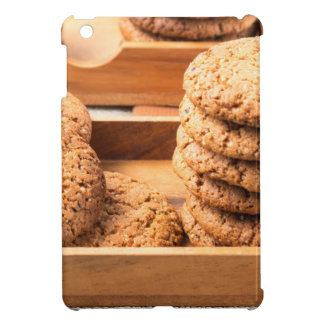 Close-up view on oat biscuits in wooden boxes iPad mini cover