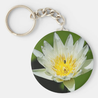 Close-up White Water Lily Flower and Bee Keychains