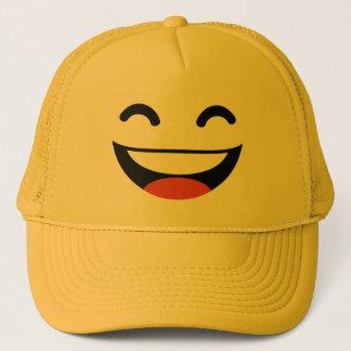 Close your eyes laughing emoji trucker hat