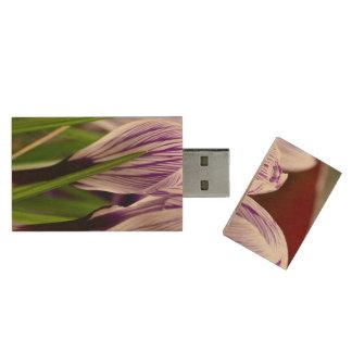 Closed Crocos Blue-White Striped Wood USB 2.0 Flash Drive