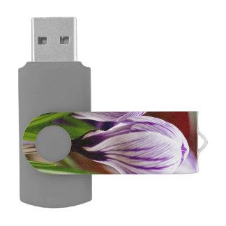 Closed Crocos Blue-White Striped Swivel USB 2.0 Flash Drive