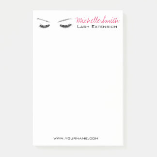 Closed eyes long lashes lash extension post-it notes