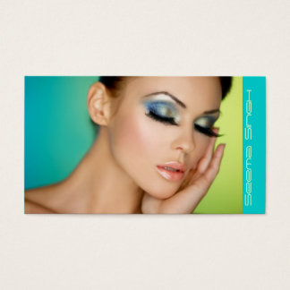 Closed eyes makeup business card