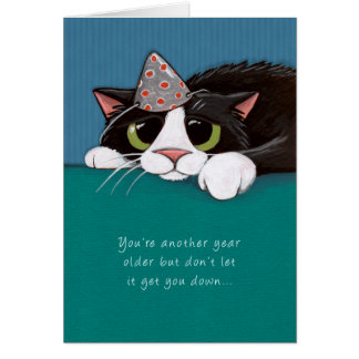 Closer to Purrfection Tuxedo Cat Birthday Card
