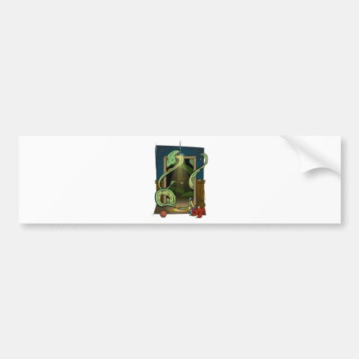 Closet Monster Illustration by Daily Undead Bumper Sticker