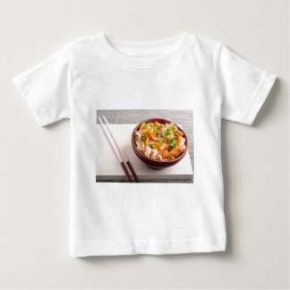Closeup Asian dish of rice noodles and vegetable Baby T-Shirt