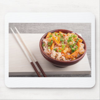 Closeup Asian dish of rice noodles and vegetable Mouse Pad