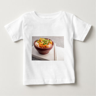 Closeup Asian food of rice noodles and vegetables Baby T-Shirt