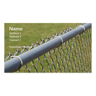 closeup detail of a metal chain link fence pack of standard business cards