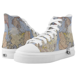 Closeup Detail of Vintage Old World Map High Tops