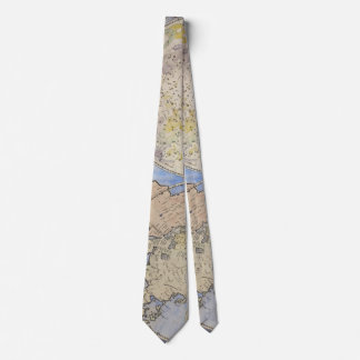 Closeup Detail of Vintage Old World Map Tie