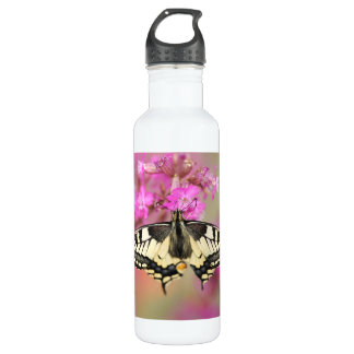 Closeup dovetail butterfly on lilac flower 710 ml water bottle