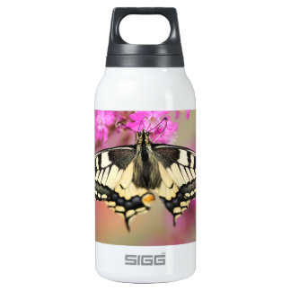 Closeup dovetail butterfly on lilac flower insulated water bottle