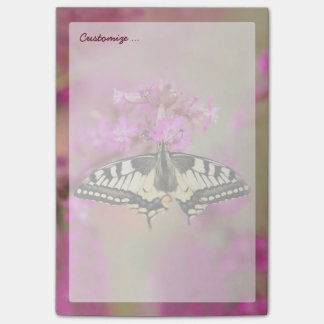 Closeup dovetail butterfly on lilac flower post-it notes