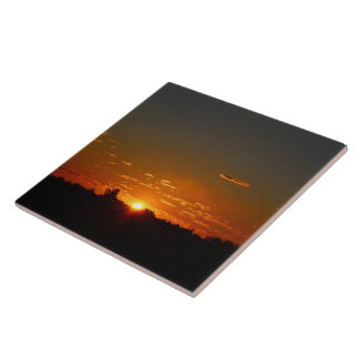 Closeup Early Morning Sunrise and Sky Summer 2016 Large Square Tile