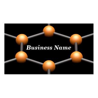 Closeup of a 3D Molecular Structure Orange Business Card Template